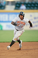 Bowie Baysox designated hitter Yermin Mercedes (1) running the bases during a game against the Harrisburg Senators on May 16, 2017 at FNB Field in Harrisburg, Pennsylvania.  Bowie defeated Harrisburg 6-4.  (Mike Janes/Four Seam Images)