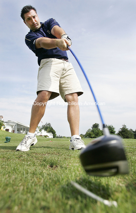 WATERTOWN, CT. 10 July 2006--081006SV01--Garrett Hazen hits a tee shot while practicing at the Watertown Gold Club in Watertown Thursday. Hazen won a regional long drive competition and will compete in the nationals in Nevada.<br /> Steven Valenti Republican-American