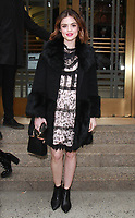 NEW YORK, NY - FEBRUARY 9: Lucy Hale at Kate Spade - Presentation - February 2018 - New York Fashion Week: The Shows at Masonic Hall in New YorkCity on February 09, 2018. <br /> CAP/MPI/RW<br /> &copy;RW/MPI/Capital Pictures