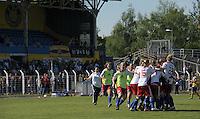 Fussball, 2. Bundesliga, Frauen. Lok Leipzig gegen HSV II. im Bild: Die Zweite des HSV feiert nach dem Abpfiff im Plache-Stadion die Meisterschaft der 2. Bundesliga Nord. .Foto: Alexander Bley