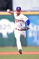 Buffalo Bisons shortstop Jonathan Diaz (1) throws to first during a game against the Durham Bulls on July 10, 2014 at Coca-Cola Field in Buffalo, New  York.  Durham defeated Buffalo 3-2.  (Mike Janes/Four Seam Images)