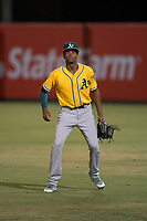 AZL Athletics right fielder Kevin Richards (37) during an Arizona League game against the AZL Angels at Tempe Diablo Stadium on June 26, 2018 in Tempe, Arizona. The AZL Athletics defeated the AZL Angels 7-1. (Zachary Lucy/Four Seam Images)