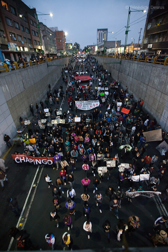 Tens of thousands protest march in support of the 43 missing Ayotzinapa's students, on a day normally reserved for the celebration of Mexico's 1910-17 Revolution, in Mexico City, Mexico on November 20, 2014. Parents of the 43 missing students still do not believe the official line that the young men are all dead. Criticism of the government has intensified in Mexico and the country has been convulsed by protests. Many are demanding justice and that the search for the 43 missing students continue until there is concrete evidence to the contrary. Mexico officially lists more than 20 thousand people as having gone missing since the start of the country's drug war in 2006, and the search for the missing students has turned up other, unrelated mass graves. (Photo by Bénédicte Desrus)