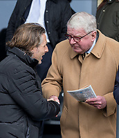 Wycombe Wanderers Manager Gareth Ainsworth chats to John Motson ahead of the Sky Bet League 2 match between Barnet and Wycombe Wanderers at The Hive, London, England on 17 April 2017. Photo by Andy Rowland.