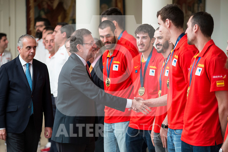 The reception of Prime Minister Mariano Rajoy to Spain national basketball team gold at EuroBasket 2015 at Moncloa Palace in Madrid, 21 September, 2015.<br /> Prime Minister Mariano Rajoy and Victor Claver.<br /> (ALTERPHOTOS/BorjaB.Hojas)