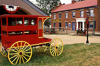living history museum, Columbus, OH, Ohio, Ohio Village, red carriage outside a 19th Century Village. Ohio Historical Society.