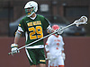 Ethan Larson #29 of Ward Melville patrols the backfield during a non-league varsity boys lacrosse game against host Chaminade High School on Saturday, April 7, 2018. Ward Melville won by a score of 11-7.