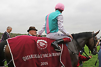 October 07, 2018, Longchamp, FRANCE - Enable with Frankie Dettori up and John Gosden after winning the Qatar Prix de l'Arc de Triomphe (Gr. I) at  ParisLongchamp Race Course  [Copyright (c) Sandra Scherning/Eclipse Sportswire)]