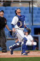 Dunedin Blue Jays catcher Mike Reeves (23) tracks a pop up during a game against the Brevard County Manatees on April 23, 2015 at Florida Auto Exchange Stadium in Dunedin, Florida.  Brevard County defeated Dunedin 10-6.  (Mike Janes/Four Seam Images)