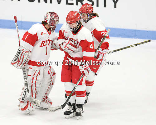 Kerrin Sperry (BU - 1), Kathryn Miller (BU - 4), Tara Watchorn (BU - 27) - The Boston University Terriers defeated the visiting Mercyhurst College Lakers 4-2 in their NCAA Quarterfinal matchup on Saturday, March 12, 2011, at Walter Brown Arena in Boston, Massachusetts.
