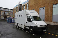 Pictured: The prison van which tranferred Robert Riley parked outside Swansea Magistrates Court. Thursday 08 May 2014<br />
