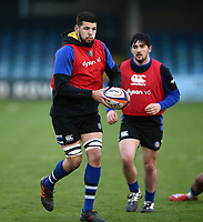 Rhys Davies of Bath United in action during the pre-match warm-up. Premiership Rugby Shield match, between Bath United and Gloucester United on April 8, 2019 at the Recreation Ground in Bath, England. Photo by: Patrick Khachfe / Onside Images