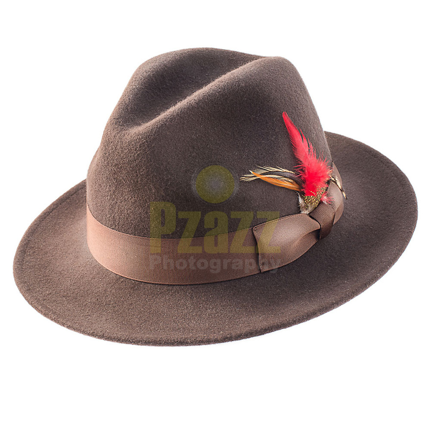 Product Photograph of a mens brown hat from our recent shoot for the Trimming Company.