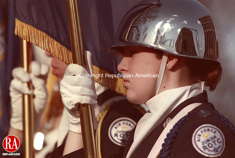 NAUGATUCK,CT-11/11/98-1111CK10.tif-Naugatuck Air Force ROTC Cadet Melissa Carrigan stands at attention during the playing of the National Anthem after the Veterens day Parade in Naugatuck on Wednesday.    CASEY KEIL PHOTO.