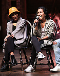 "Christina Glur and Gabriella Sorrentino during the Q & A before The Rockefeller Foundation and The Gilder Lehrman Institute of American History sponsored High School student #eduHAM matinee performance of ""Hamilton"" at the Richard Rodgers Theatre on June 5, 2019 in New York City."