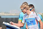 Young Riders White Jersey leader Magnus Cort Nielsen (DEN) Astana Pro Team at sign on before the start of Stage 5 The Meraas Stage final stage of the Dubai Tour 2018 the Dubai Tour&rsquo;s 5th edition, running 132km from Skydive Dubai to City Walk, Dubai, United Arab Emirates. 10th February 2018.<br /> Picture: LaPresse/Massimo Paolone | Cyclefile<br /> <br /> <br /> All photos usage must carry mandatory copyright credit (&copy; Cyclefile | LaPresse/Massimo Paolone)