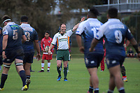 Referee Cam Stone awards a penalty to Papatoetoe during the Auckland Premier club rugby match between Papatoetoe and College Rifles at Papatoetoe Rugby Club in Auckland, New Zealand on Friday, 28 April 2018. Photo: Dave Lintott / lintottphoto.co.nz