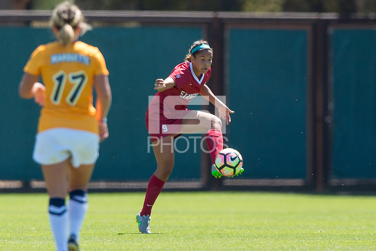 Stanford, CA - September 4, 2016:  Tegan McGrady during the Stanford vs Marquette Women's soccer match in Stanford, California.  The Cardinal defeated the Golden Eagles 3-0.