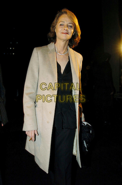 CHARLOTTE RAMPLING.Francesco Smalto, Men's Fashion Show in Paris, Autumn/Winter 2006-2007.January 31st, 2006.Ref: OME.half length beige jacket.www.capitalpictures.com.sales@capitalpictures.com.© Capital Pictures.