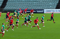 The teams warm during the 2017 DHL Lions Series rugby union  British & Irish Lions captain's run at QBE Stadium in Albany New Zealand on Tuesday, 6 June 2017. Photo: Dave Lintott / lintottphoto.co.nz