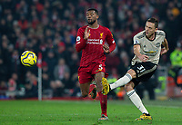 Manchester United's Nemanja Matic gets away from Liverpool's Georginio Wijnaldum<br /> <br /> Photographer Alex Dodd/CameraSport<br /> <br /> The Premier League - Liverpool v Manchester United - Sunday 19th January 2020 - Anfield - Liverpool<br /> <br /> World Copyright © 2020 CameraSport. All rights reserved. 43 Linden Ave. Countesthorpe. Leicester. England. LE8 5PG - Tel: +44 (0) 116 277 4147 - admin@camerasport.com - www.camerasport.com