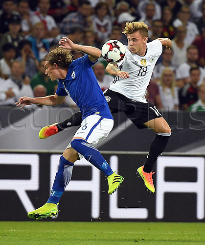 31.08.2016 Moenchengladbach, Germany. International football freindly. Germany versus Finland.  Alexander Ring (Finland), Max Meyer (germany)