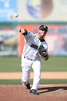 Michael Smith (36) of the Inland Empire 66ers pitches during a game against the Lake Elsinore Storm at San Manuel Stadium on May 27, 2015 in San Bernardino, California. Lake Elsinore defeated Inland Empire, 12-9. (Larry Goren/Four Seam Images)