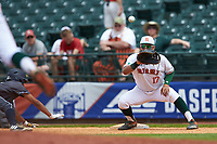 Christopher Barr (17) of the Miami Hurricanes on defense against the Georgia Tech Yellow Jackets during game one of the 2017 ACC Baseball Championship at Louisville Slugger Field on May 23, 2017 in Louisville, Kentucky. The Hurricanes walked-off the Yellow Jackets 6-5 in 13 innings. (Brian Westerholt/Four Seam Images)