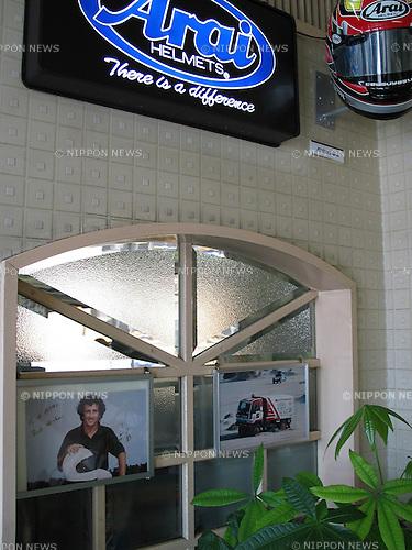 Arai Helmet Ltd. Headquaters entrance with Alain Prost's autographed dedication.