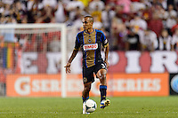 Fabio Alves (Fabinho) (33) of the Philadelphia Union. The New York Red Bulls and the Philadelphia Union played to a 0-0 tie during a Major League Soccer (MLS) match at Red Bull Arena in Harrison, NJ, on August 17, 2013.