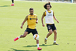 Getafe's Angel Rodriguez (l) and Marc Cucurella during training session. August 3,2020.(ALTERPHOTOS/Acero)