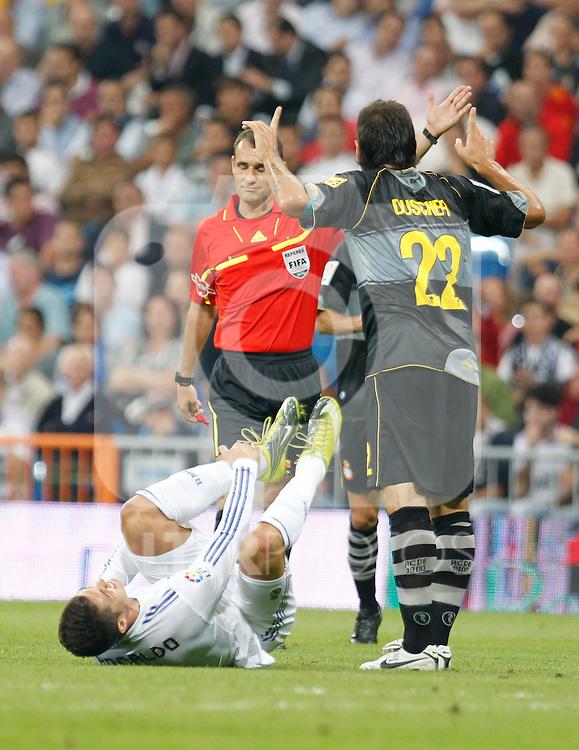 Madrid.- (21/09/10)Estadio Santiago Bernabeu..Campeonato Nacional de Liga..Real Madrid - Espanyol .Cristiano Ronaldo, Duscher...©Alex Cid-Fuentes/AlfaquiFotografia