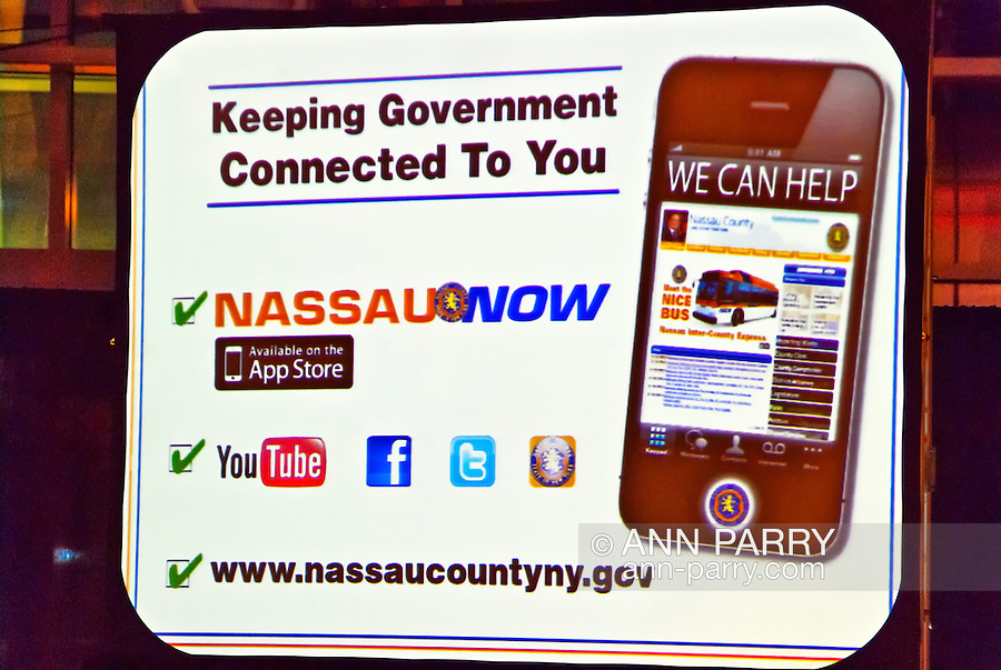 Nassau County Executive Edward Mangano gives State of the County Address, on Wednesday night, March 14, 2012, at Cradle of Aviation museum, Garden City, New York, USA. He told about Nassau County social media options, such as Nassau County APP available at ITunes App Store, illustrated in this visual aid at end of meeting.