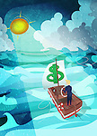 Businessman guiding a boat towards the shining sun during a rainstorm