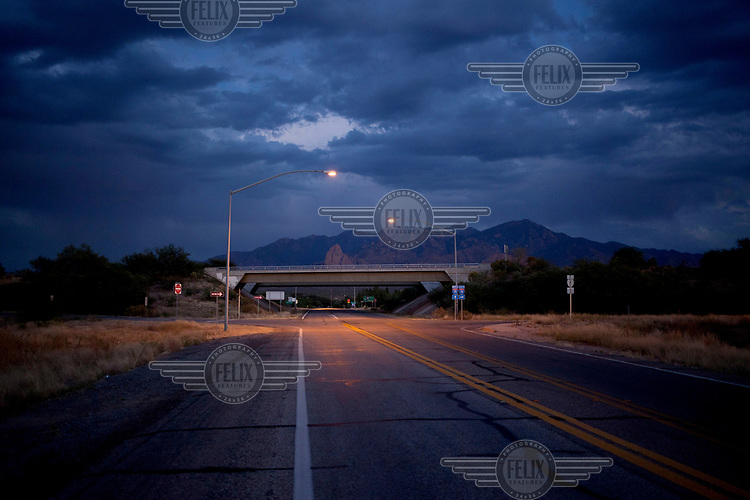 A deserted road at dusk near Tucson.