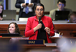 Nevada Assemblywoman Olivia Diaz, D-North Las Vegas, speaks on the Assembly floor at the Legislative Building in Carson City, Nev., on Friday, May 22, 2015. <br /> Photo by Cathleen Allison