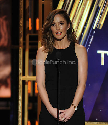 BEVERLY HILLS, CA - APRIL 11: Minka Kelly appears on the 2015 TV Land Awards at the Saban Theater on April 11, 2015 in Beverly Hills, California. FMPG/MediaPunch