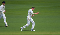 Wellington's Ollie Newton celebrates dismissing Otago's Camden Hawkins on day one of the Plunket Shield cricket match between the Wellington Firebirds and Otago Volts at Basin Reserve in Wellington, New Zealand on Monday, 21 October 2019. Photo: Dave Lintott / lintottphoto.co.nz