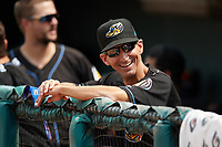 Akron RubberDucks manager Mark Budzinski (7) in the dugout before a game against the Erie SeaWolves on August 27, 2017 at UPMC Park in Erie, Pennsylvania.  Akron defeated Erie 6-4.  (Mike Janes/Four Seam Images)