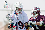 Los Angeles, CA 03/20/10 - Graham Seamans (Arizona # 19) and Marc Napp (LMU # 1) in action during the Arizona-Loyola Marymount University MCLA game at Leavey Field (LMU).  LMU defeated Arizona 13-6.