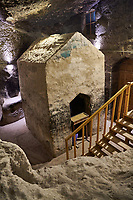 Picture & image of Vardzia medieval cave tomb of the Church of the Dormition cave cemetery, part of the cave city and monastery of Vardzia, Erusheti Mountain, southern Georgia (country)<br /> <br /> Inhabited from the 5th century BC, the first identifiable phase of building took place at  Vardzia in the reign of Giorgi III (1156-1184) to be continued by his successor, Queen Tamar 1186, when the Church of the Dormition was carved out of the rock and decorated with frescoes