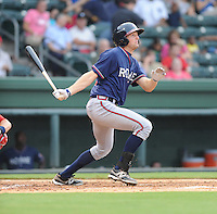 Infielder Kyle Kubitza (39) of the Rome Braves, an Atlanta Braves affiliate, in a game against the Greenville Drive on August 13, 2012, at Fluor Field at the West End in Greenville, South Carolina. Kubitza was a third-round pick of the Atlanta Braves in the 2011 First-Year Player Draft. He is is Atlanta's No. 17 prospect according to Baseball America. Rome won, 3-2. (Tom Priddy/Four Seam Images)