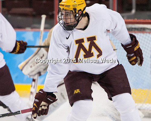 Brady Skjei (MN - 2) - The University of Minnesota Golden Gophers practiced on Wednesday, April 9, 2014, at the Wells Fargo Center in Philadelphia, Pennsylvania during the 2014 Frozen Four.