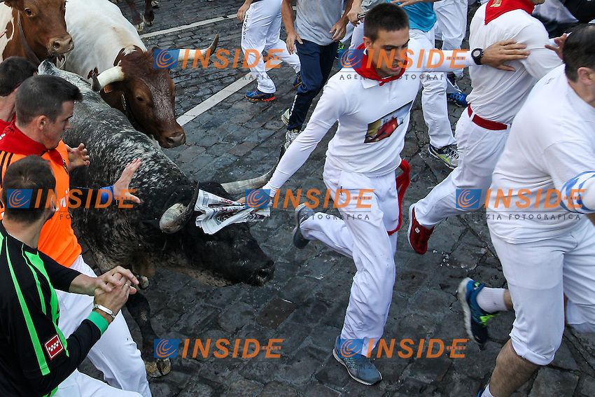 Second bull runing of San Fermin at Pamplona, with bulls of the ranch of Cebada Gago. July 08, 2016. (Insidefoto/ALTERPHOTOS/Rodrigo Jimenez <br /> San Firmino Corsa dei Tori