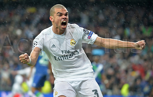 12.04.2016. Madrid, Spain.  Pepe of Madrid celebrates a goal from his team mate Ronaldo during the UEFA Champions League quarterfinal second leg  match between Real Madrid and VfL Wolfsburg at the Santiago Bernabeu stadium in Madrid, Spain