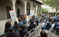 "Congressman Jimmy Gomez (CA-34) speaks.<br /> Upward Bound hosts their annual ""End of the Year"" celebration with participants and their families on May 12, 2018 in the courtyard of Booth Hall. Jimmy Gomez, U.S. Representative for California's 34th congressional district, was the featured speaker at the event.<br /> Upward Bound was established at Occidental College in 1966 and has since served over 2000 first generation, low income students in the Los Angeles region.<br /> (Photo by Marc Campos, Occidental College Photographer)"