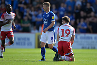 Danny Newton of Stevenage is tackled by Jay Harris of Tranmere Rovers during Stevenage vs Tranmere Rovers, Sky Bet EFL League 2 Football at the Lamex Stadium on 4th August 2018