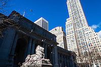 US, New York City. New York Public Library at 5th Avenue.