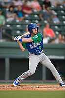 Designated hitter Cal Jones (9) of the Lexington Legends at bat during a game against the Greenville Drive on Sunday, September 2, 2018, at Fluor Field at the West End in Greenville, South Carolina. Greenville won, 7-4. (Tom Priddy/Four Seam Images)