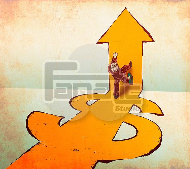 Businessman walking on dollar and arrow signs